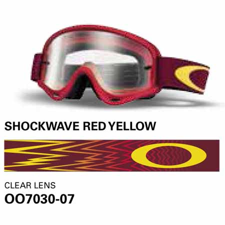 67166abe4a9 Oakley xs o frame shockwave red and yellow mx goggles with clear lens